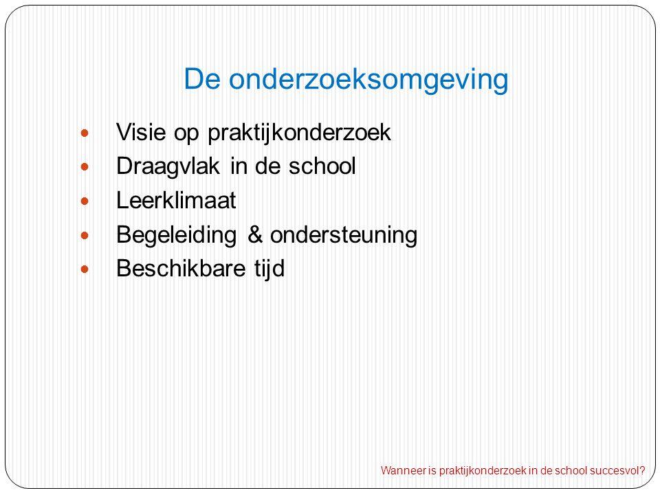 De onderzoeksomgeving Visie op praktijkonderzoek Draagvlak in de school Leerklimaat Begeleiding & ondersteuning Beschikbare tijd Wanneer is praktijkonderzoek in de school succesvol?