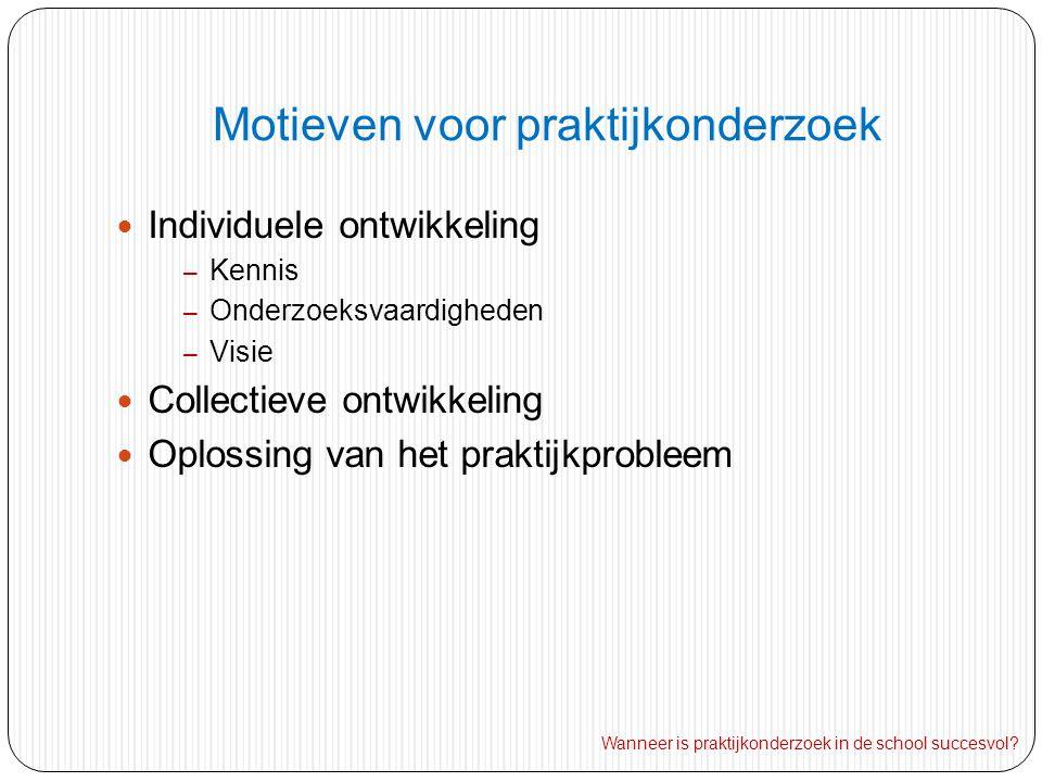 Motieven voor praktijkonderzoek Individuele ontwikkeling – Kennis – Onderzoeksvaardigheden – Visie Collectieve ontwikkeling Oplossing van het praktijkprobleem Wanneer is praktijkonderzoek in de school succesvol?