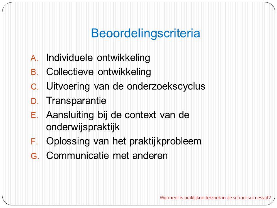 Beoordelingscriteria A.Individuele ontwikkeling B.