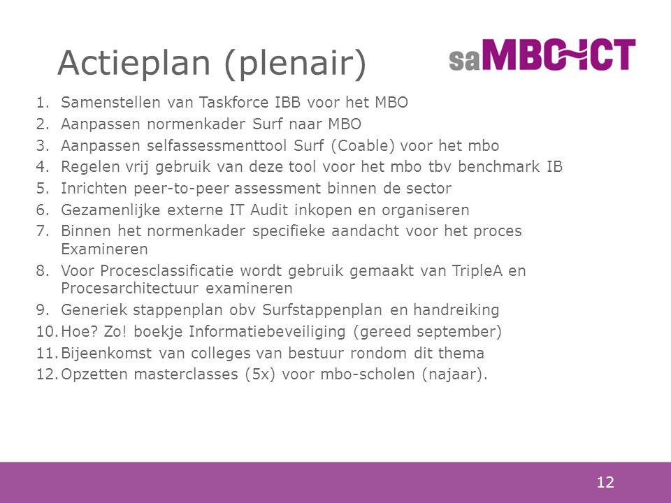 12 Actieplan (plenair) 1.Samenstellen van Taskforce IBB voor het MBO 2.Aanpassen normenkader Surf naar MBO 3.Aanpassen selfassessmenttool Surf (Coable) voor het mbo 4.Regelen vrij gebruik van deze tool voor het mbo tbv benchmark IB 5.Inrichten peer-to-peer assessment binnen de sector 6.Gezamenlijke externe IT Audit inkopen en organiseren 7.Binnen het normenkader specifieke aandacht voor het proces Examineren 8.Voor Procesclassificatie wordt gebruik gemaakt van TripleA en Procesarchitectuur examineren 9.Generiek stappenplan obv Surfstappenplan en handreiking 10.Hoe.