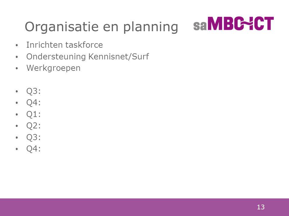 13 Organisatie en planning Inrichten taskforce Ondersteuning Kennisnet/Surf Werkgroepen Q3: Q4: Q1: Q2: Q3: Q4: