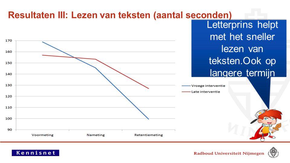 Resultaten III: Lezen van teksten (aantal seconden) Letterprins helpt met het sneller lezen van teksten.Ook op langere termijn