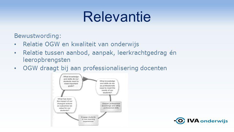 Relevantie Bewustwording: Relatie OGW en kwaliteit van onderwijs Relatie tussen aanbod, aanpak, leerkrachtgedrag én leeropbrengsten OGW draagt bij aan