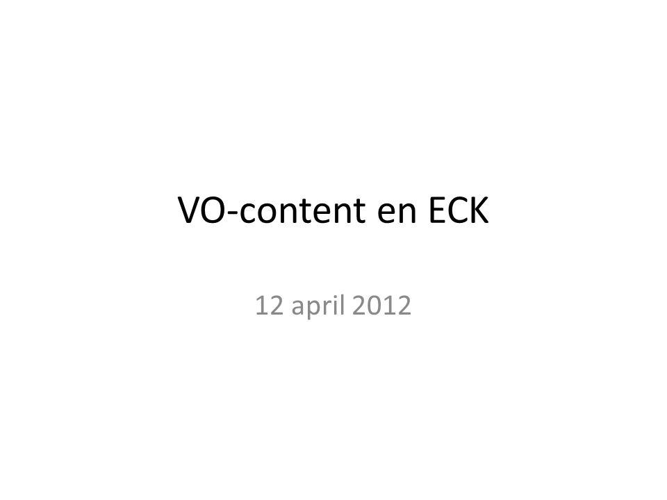 VO-content en ECK 12 april 2012
