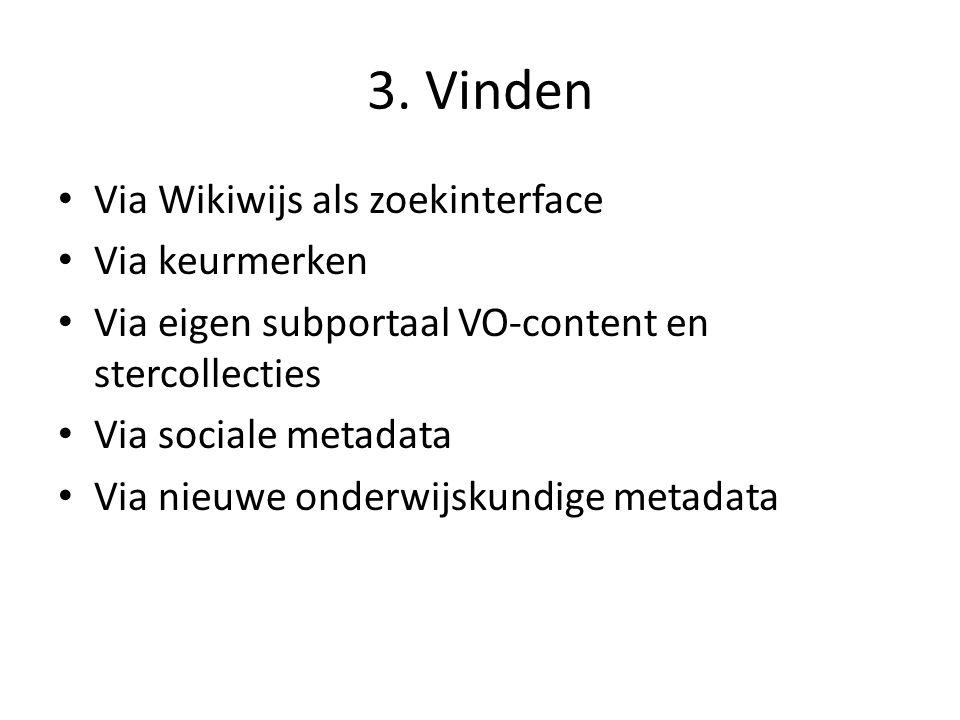 3. Vinden Via Wikiwijs als zoekinterface Via keurmerken Via eigen subportaal VO-content en stercollecties Via sociale metadata Via nieuwe onderwijskun