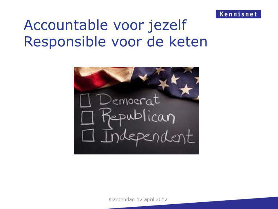 Klantendag 12 april 2012 Accountable voor jezelf Responsible voor de keten