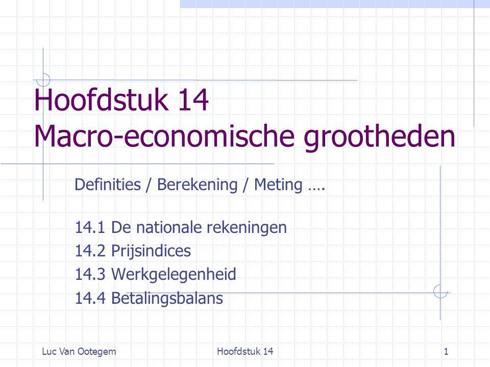 Luc Van OotegemHoofdstuk 141 Hoofdstuk 14 Macro-economische grootheden Definities / Berekening / Meting …. 14.1 De nationale rekeningen 14.2 Prijsindi