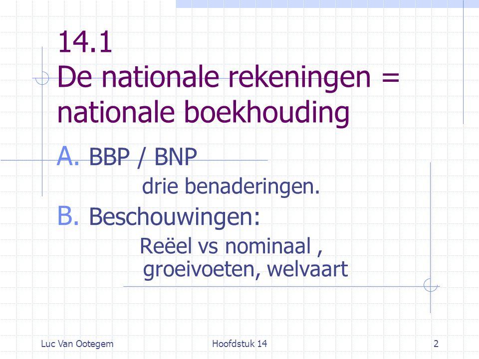 Luc Van OotegemHoofdstuk 142 14.1 De nationale rekeningen = nationale boekhouding A. BBP / BNP drie benaderingen. B. Beschouwingen: Reëel vs nominaal,