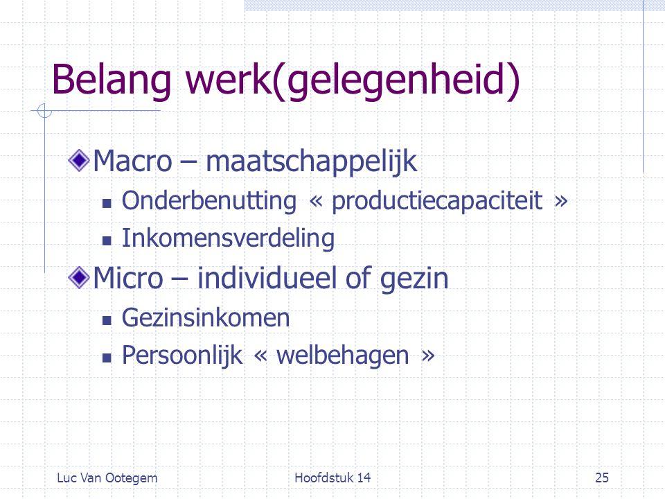 Luc Van OotegemHoofdstuk 1425 Belang werk(gelegenheid) Macro – maatschappelijk Onderbenutting « productiecapaciteit » Inkomensverdeling Micro – indivi