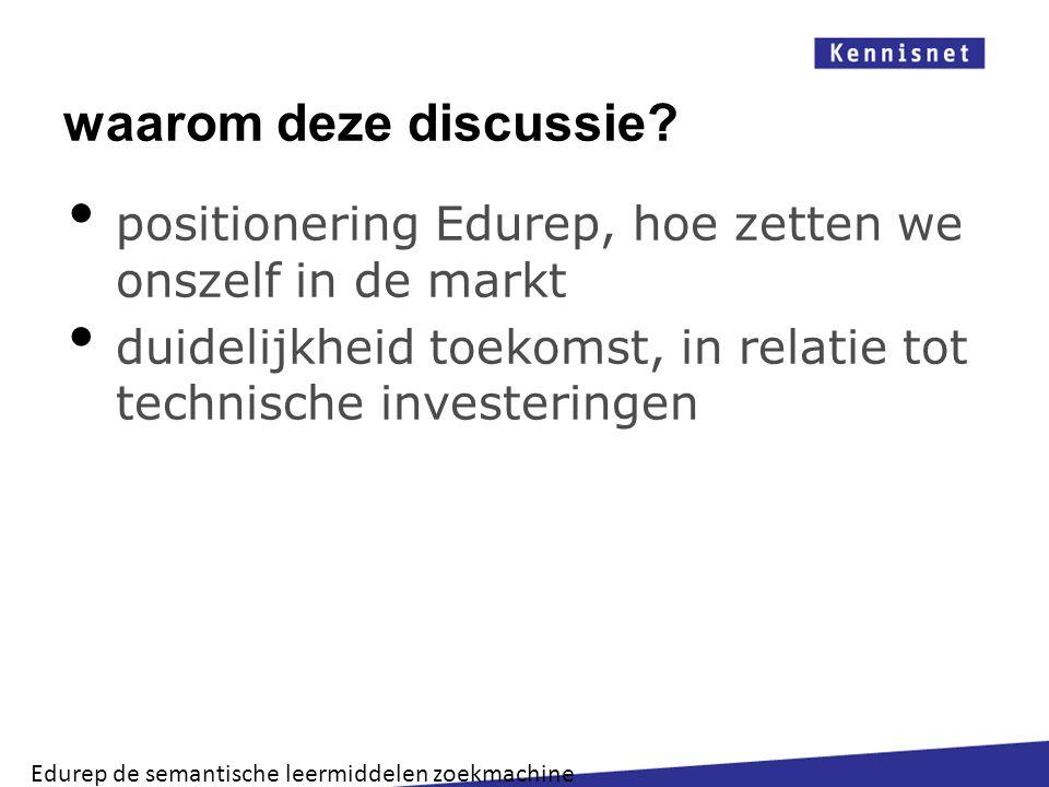 waarom deze discussie? positionering Edurep, hoe zetten we onszelf in de markt duidelijkheid toekomst, in relatie tot technische investeringen Edurep