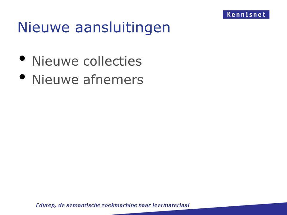 Nieuwe aansluitingen Edurep, de semantische zoekmachine naar leermateriaal Nieuwe collecties Nieuwe afnemers