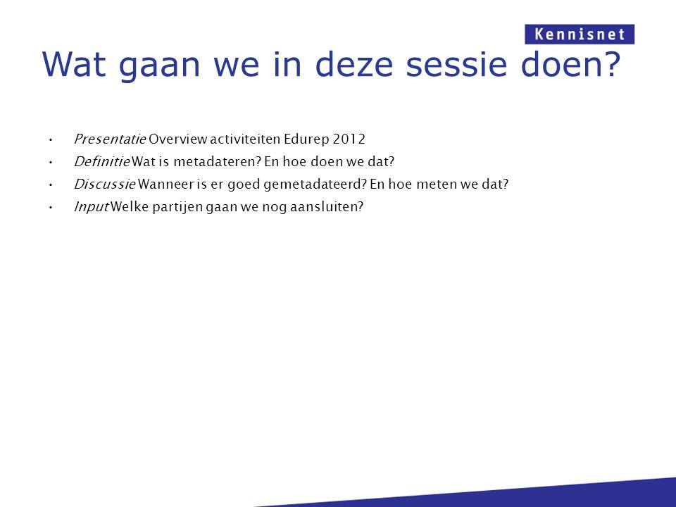 Presentatie Overview activiteiten Edurep 2012 Definitie Wat is metadateren? En hoe doen we dat? Discussie Wanneer is er goed gemetadateerd? En hoe met