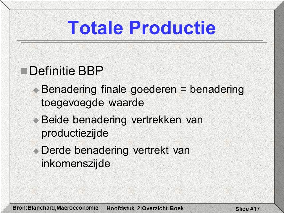 Hoofdstuk 2:Overzicht Boek Bron:Blanchard,Macroeconomic s Slide #17 Totale Productie Definitie BBP  Benadering finale goederen = benadering toegevoegde waarde  Beide benadering vertrekken van productiezijde  Derde benadering vertrekt van inkomenszijde