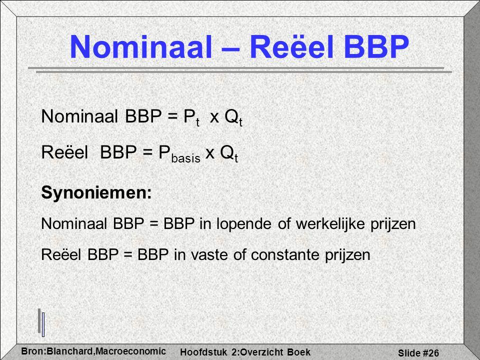 Hoofdstuk 2:Overzicht Boek Bron:Blanchard,Macroeconomic s Slide #26 Nominaal – Reëel BBP Nominaal BBP = P t x Q t Reëel BBP = P basis x Q t Synoniemen: Nominaal BBP = BBP in lopende of werkelijke prijzen Reëel BBP = BBP in vaste of constante prijzen