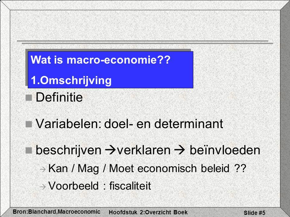 Hoofdstuk 2:Overzicht Boek Bron:Blanchard,Macroeconomic s Slide #5 Definitie Variabelen: doel- en determinant beschrijven  verklaren  beïnvloeden  Kan / Mag / Moet economisch beleid ?.