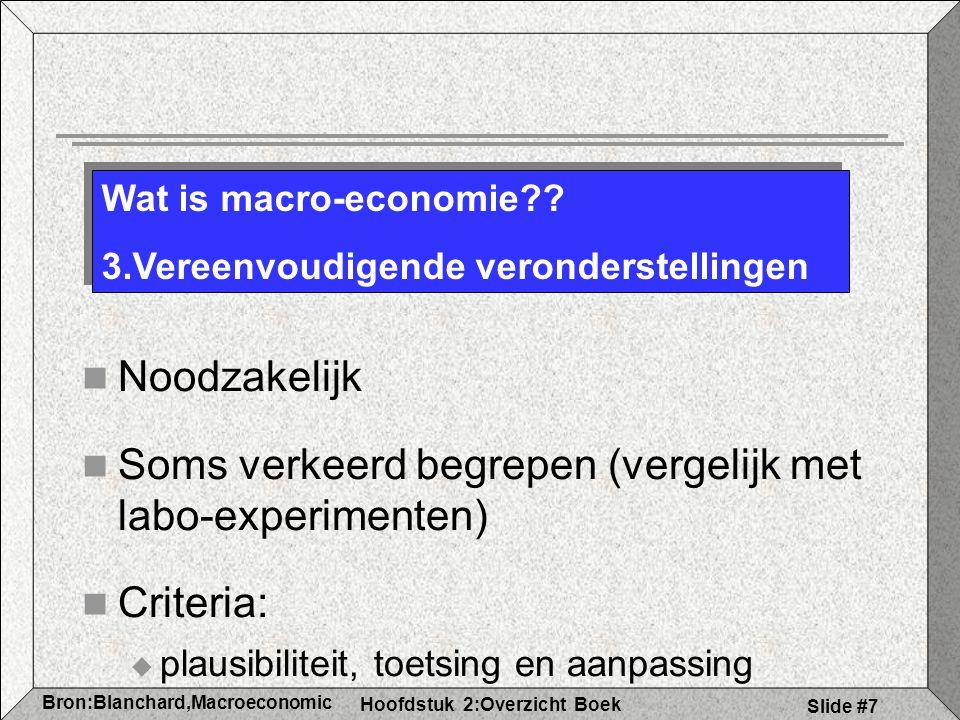 Hoofdstuk 2:Overzicht Boek Bron:Blanchard,Macroeconomic s Slide #7 Noodzakelijk Soms verkeerd begrepen (vergelijk met labo-experimenten) Criteria:  plausibiliteit, toetsing en aanpassing Wat is macro-economie?.