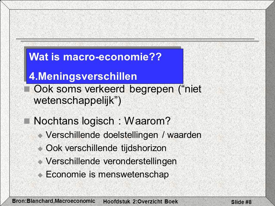 Hoofdstuk 2:Overzicht Boek Bron:Blanchard,Macroeconomic s Slide #8 Ook soms verkeerd begrepen ( niet wetenschappelijk ) Nochtans logisch : Waarom.