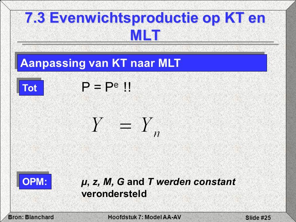 Hoofdstuk 7: Model AA-AVBron: Blanchard Slide #25 7.3 Evenwichtsproductie op KT en MLT Aanpassing van KT naar MLT Tot OPM: P = P e !.