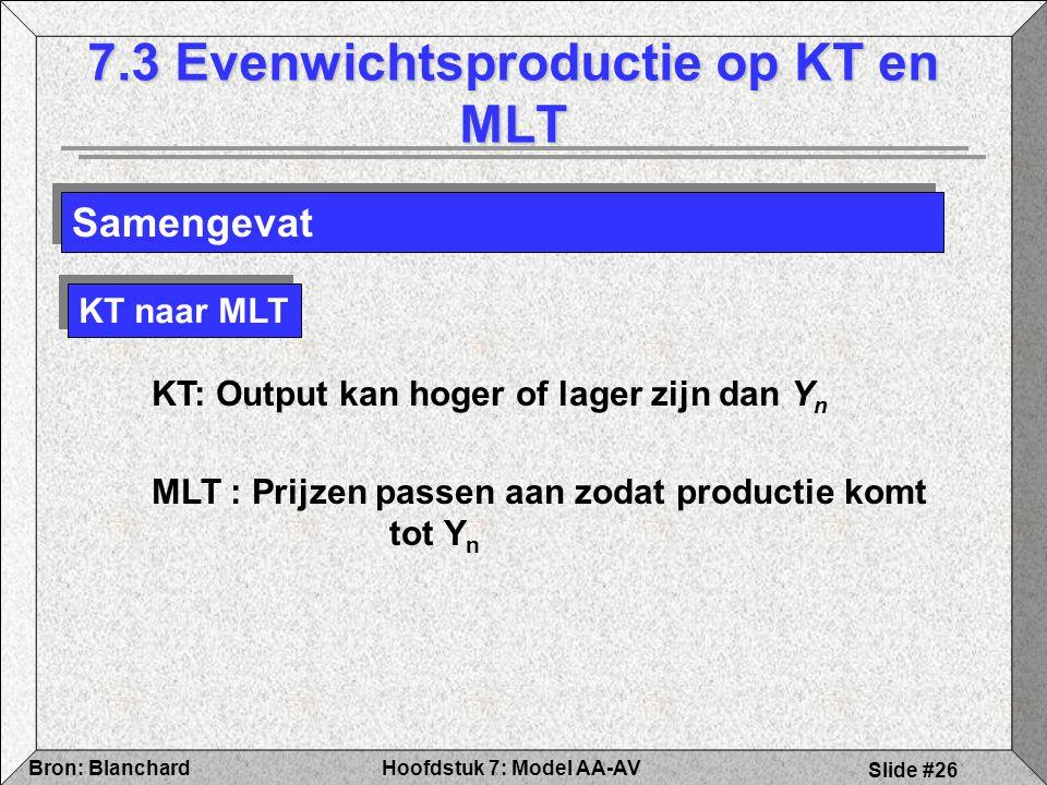 Hoofdstuk 7: Model AA-AVBron: Blanchard Slide #26 7.3 Evenwichtsproductie op KT en MLT Samengevat KT naar MLT KT: Output kan hoger of lager zijn dan Y n MLT : Prijzen passen aan zodat productie komt tot Y n