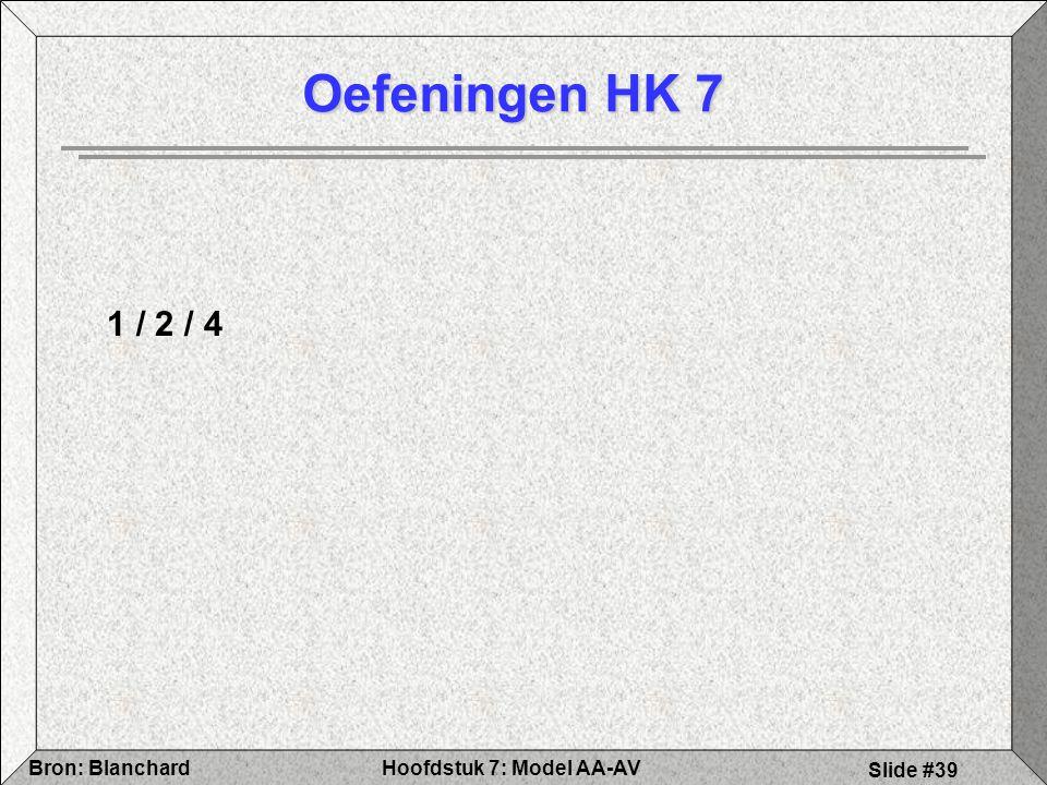 Hoofdstuk 7: Model AA-AVBron: Blanchard Slide #39 Oefeningen HK 7 1 / 2 / 4