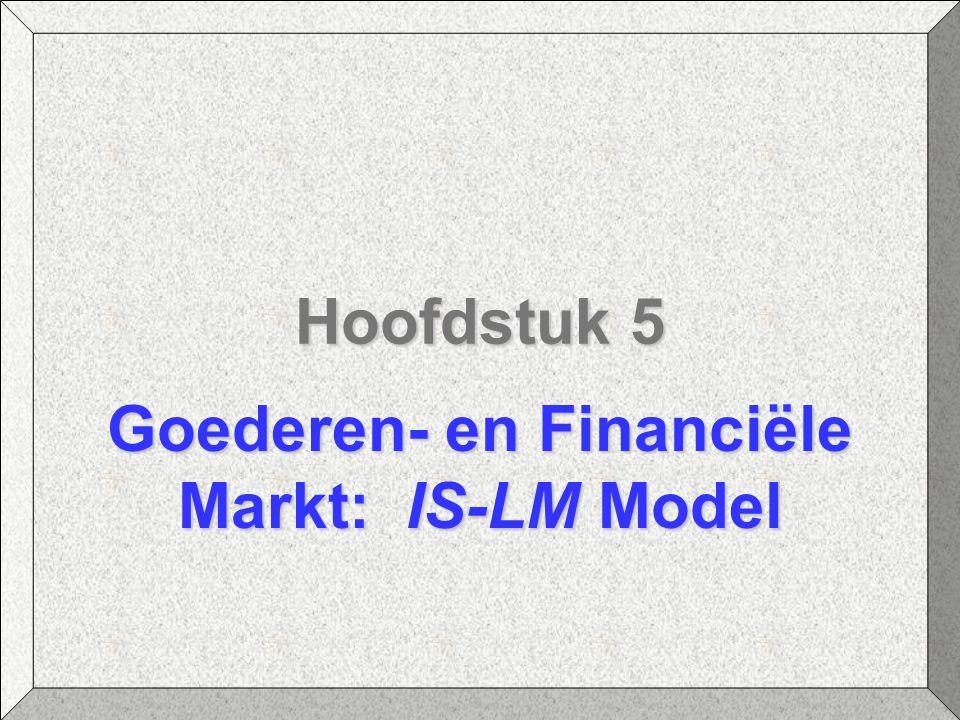 Hoofdstuk 5 Goederen- en Financiële Markt: IS-LM Model