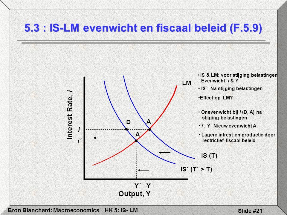 HK 5: IS- LMBron Blanchard: Macroeconomics Slide #21 5.3 : IS-LM evenwicht en fiscaal beleid (F.5.9) Output, Y Interest Rate, i IS´ (T´ > T) Y´ i´ LM Y i D A IS (T) IS & LM: voor stijging belastingen Evenwicht: i & Y IS´: Na stijging belastingen Effect op LM.