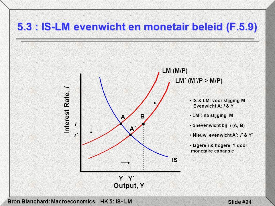 HK 5: IS- LMBron Blanchard: Macroeconomics Slide #24 5.3 : IS-LM evenwicht en monetair beleid (F.5.9) Output, Y Interest Rate, i Y´ i´ LM (M/P) Y i A B IS A´ LM´ (M´/P > M/P) IS & LM: voor stijging M Evenwicht A: i & Y LM´: na stijging M onevenwicht bij i (A, B) Nieuw evenwicht A´: i´ & Y´ lagere i & hogere Y door monetaire expansie