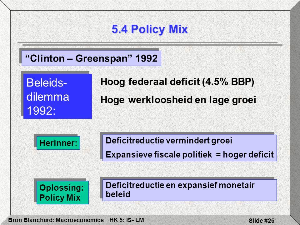 HK 5: IS- LMBron Blanchard: Macroeconomics Slide #26 5.4 Policy Mix Herinner: Deficitreductie vermindert groei Expansieve fiscale politiek = hoger deficit Deficitreductie vermindert groei Expansieve fiscale politiek = hoger deficit Beleids- dilemma 1992: Hoog federaal deficit (4.5% BBP) Hoge werkloosheid en lage groei Clinton – Greenspan 1992 Oplossing: Policy Mix Deficitreductie en expansief monetair beleid