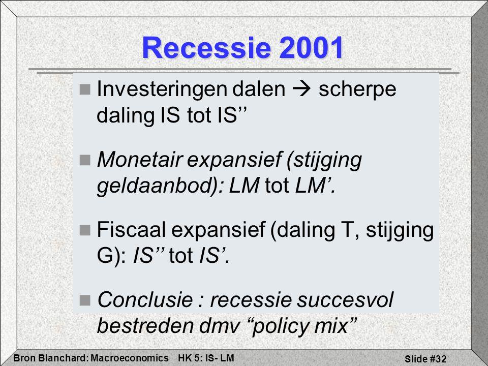 HK 5: IS- LMBron Blanchard: Macroeconomics Slide #32 Recessie 2001 Investeringen dalen  scherpe daling IS tot IS'' Monetair expansief (stijging geldaanbod): LM tot LM'.