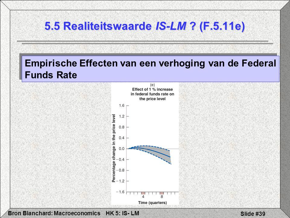 HK 5: IS- LMBron Blanchard: Macroeconomics Slide #39 5.5 Realiteitswaarde IS-LM ? (F.5.11e) Empirische Effecten van een verhoging van de Federal Funds