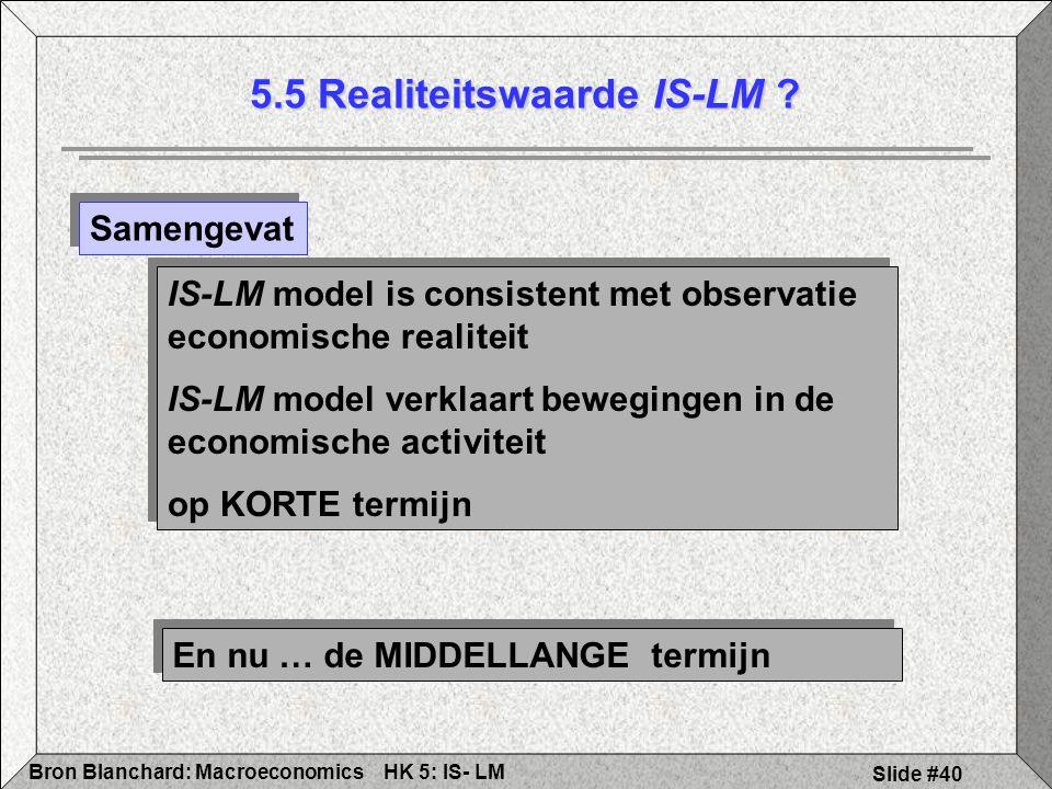HK 5: IS- LMBron Blanchard: Macroeconomics Slide #40 5.5 Realiteitswaarde IS-LM .