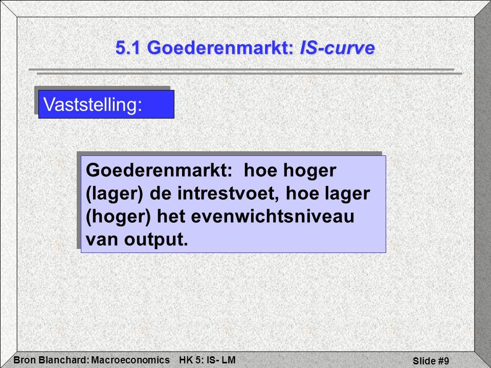 HK 5: IS- LMBron Blanchard: Macroeconomics Slide #9 Vaststelling: 5.1 Goederenmarkt: IS-curve Goederenmarkt: hoe hoger (lager) de intrestvoet, hoe lager (hoger) het evenwichtsniveau van output.