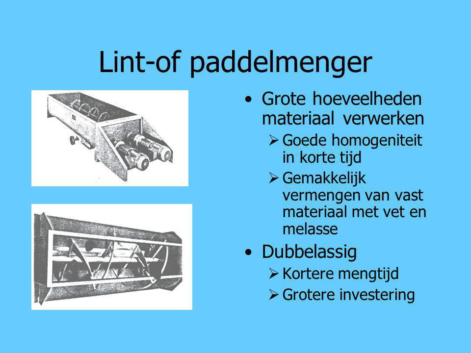 Lint-of paddelmenger Grote hoeveelheden materiaal verwerken  Goede homogeniteit in korte tijd  Gemakkelijk vermengen van vast materiaal met vet en m