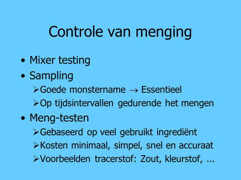 Controle van menging Mixer testing Sampling  Goede monstername  Essentieel  Op tijdsintervallen gedurende het mengen Meng-testen  Gebaseerd op vee