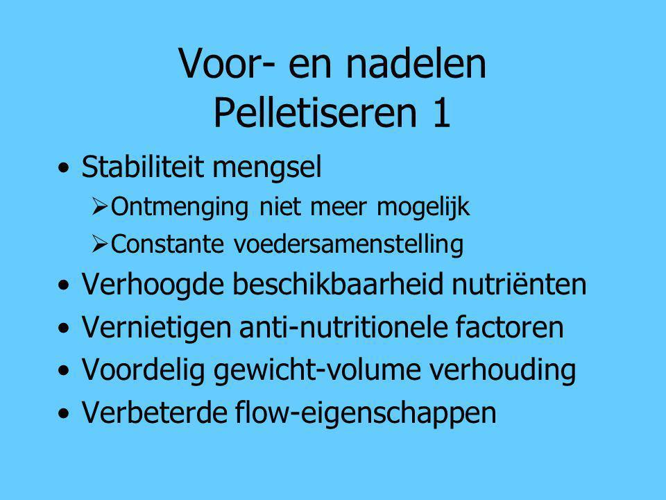 Voor- en nadelen Pelletiseren 1 Stabiliteit mengsel  Ontmenging niet meer mogelijk  Constante voedersamenstelling Verhoogde beschikbaarheid nutriënt
