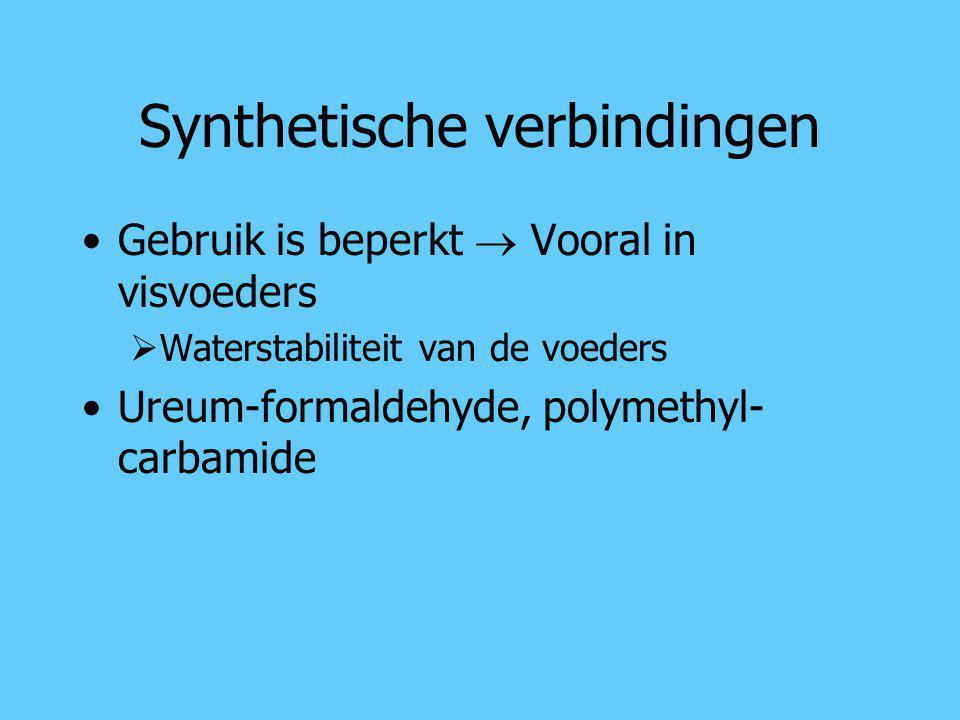 Synthetische verbindingen Gebruik is beperkt  Vooral in visvoeders  Waterstabiliteit van de voeders Ureum-formaldehyde, polymethyl- carbamide