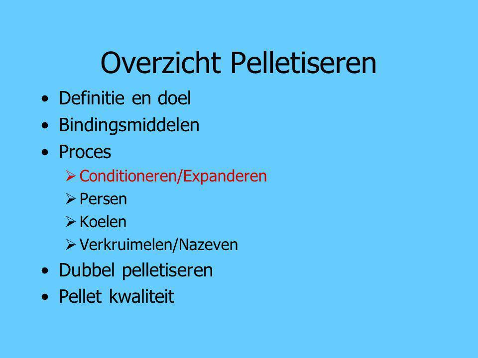 Overzicht Pelletiseren Definitie en doel Bindingsmiddelen Proces  Conditioneren/Expanderen  Persen  Koelen  Verkruimelen/Nazeven Dubbel pelletiser