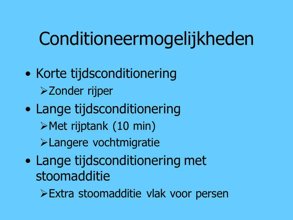 Conditioneermogelijkheden Korte tijdsconditionering  Zonder rijper Lange tijdsconditionering  Met rijptank (10 min)  Langere vochtmigratie Lange ti