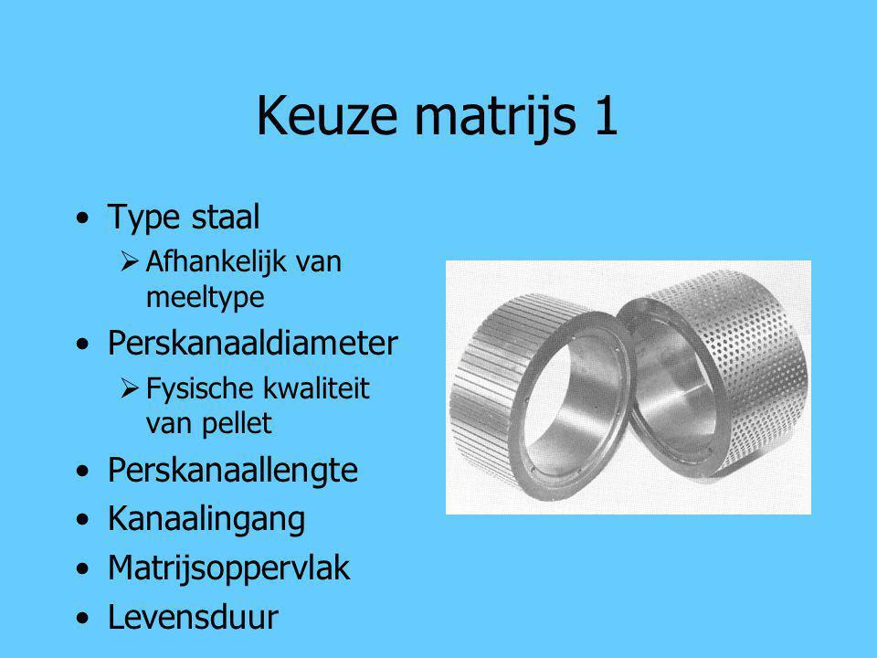 Keuze matrijs 1 Type staal  Afhankelijk van meeltype Perskanaaldiameter  Fysische kwaliteit van pellet Perskanaallengte Kanaalingang Matrijsoppervla