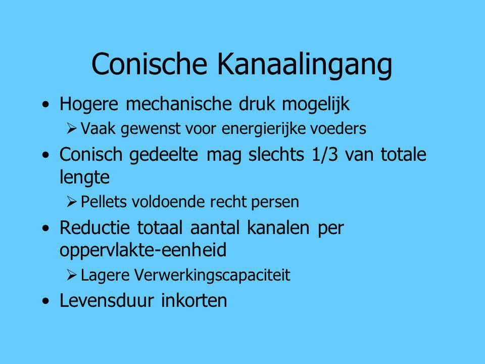 Conische Kanaalingang Hogere mechanische druk mogelijk  Vaak gewenst voor energierijke voeders Conisch gedeelte mag slechts 1/3 van totale lengte  P