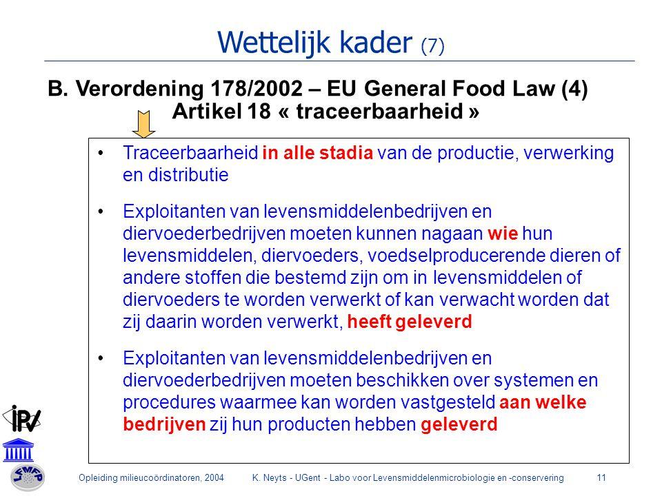 Opleiding milieucoördinatoren, 2004K. Neyts - UGent - Labo voor Levensmiddelenmicrobiologie en -conservering11 Wettelijk kader (7) B. Verordening 178/