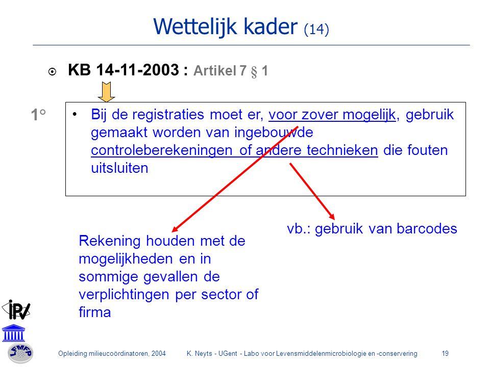 Opleiding milieucoördinatoren, 2004K. Neyts - UGent - Labo voor Levensmiddelenmicrobiologie en -conservering19 Wettelijk kader (14)  KB 14-11-2003 :