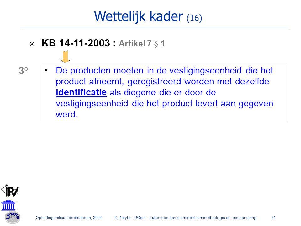 Opleiding milieucoördinatoren, 2004K. Neyts - UGent - Labo voor Levensmiddelenmicrobiologie en -conservering21 Wettelijk kader (16)  KB 14-11-2003 :