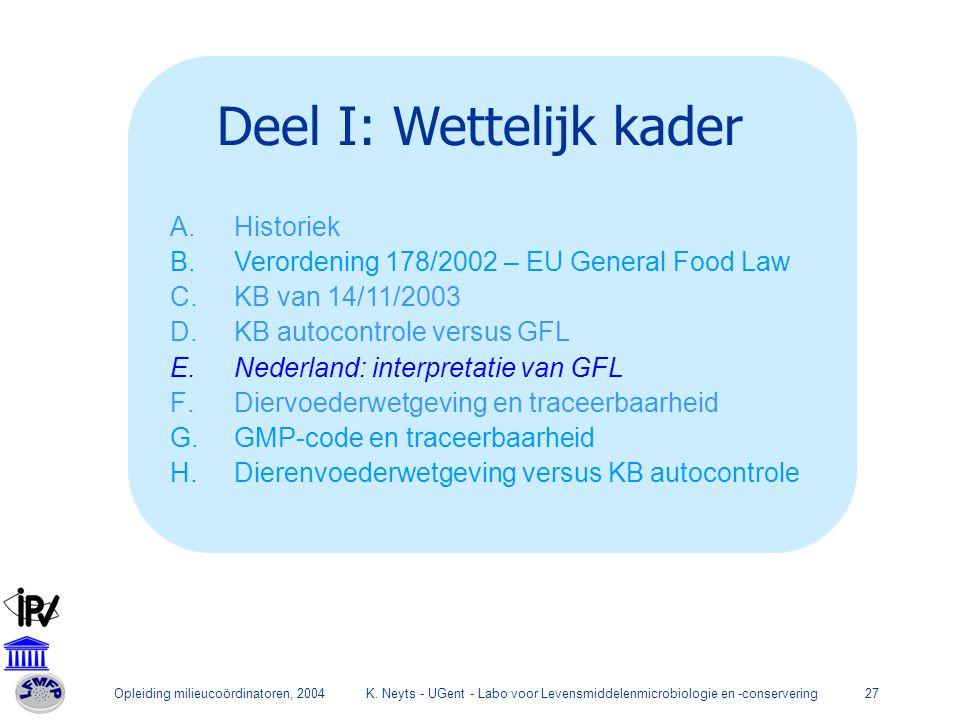 Opleiding milieucoördinatoren, 2004K. Neyts - UGent - Labo voor Levensmiddelenmicrobiologie en -conservering27 Deel I: Wettelijk kader A.Historiek B.V