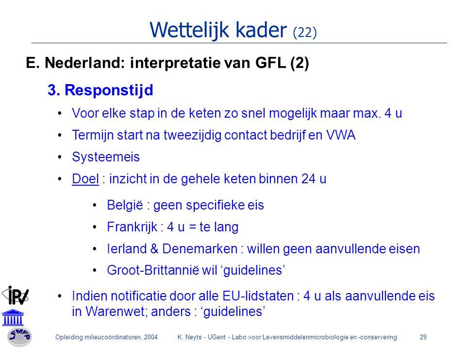 Opleiding milieucoördinatoren, 2004K. Neyts - UGent - Labo voor Levensmiddelenmicrobiologie en -conservering29 Wettelijk kader (22) E. Nederland: inte