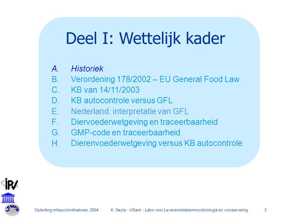 Opleiding milieucoördinatoren, 2004K. Neyts - UGent - Labo voor Levensmiddelenmicrobiologie en -conservering3 Deel I: Wettelijk kader A.Historiek B.Ve