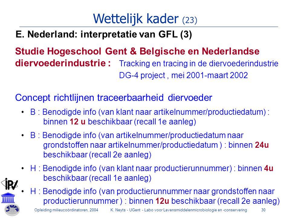 Opleiding milieucoördinatoren, 2004K. Neyts - UGent - Labo voor Levensmiddelenmicrobiologie en -conservering30 Wettelijk kader (23) E. Nederland: inte
