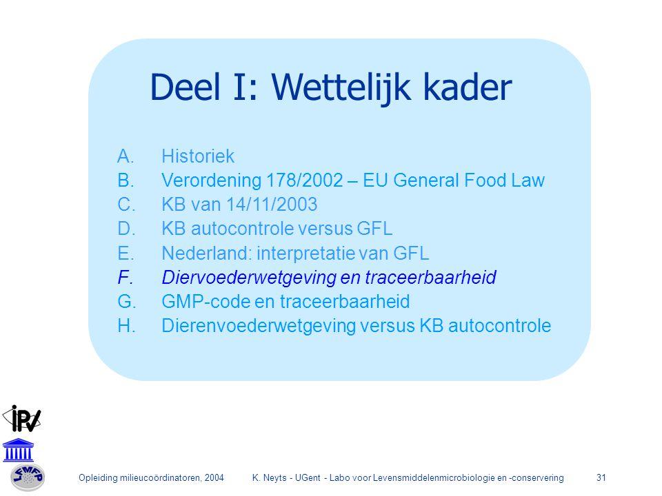 Opleiding milieucoördinatoren, 2004K. Neyts - UGent - Labo voor Levensmiddelenmicrobiologie en -conservering31 Deel I: Wettelijk kader A.Historiek B.V