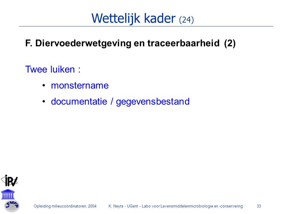 Opleiding milieucoördinatoren, 2004K. Neyts - UGent - Labo voor Levensmiddelenmicrobiologie en -conservering33 Wettelijk kader (24) F. Diervoederwetge