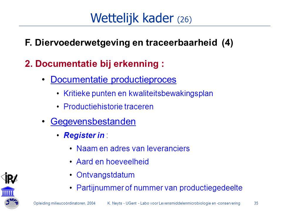 Opleiding milieucoördinatoren, 2004K.